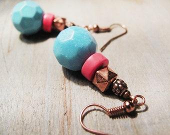 Turquoise earrings. Blue earrings. Dangle earrings Neon pink and blue earrings