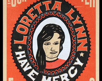 LORETTA LYNN, Coal Miner's Daughter Hand Printed Letterpress Poster