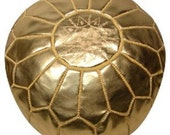 Set of 2 Moroccan Gold Designer Luxury Leather Poufs Hand Stitched and Embroidered - bazarberber