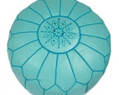 Set of 2 Moroccan Designer Duck Egg Blue luxury Leather Poufs Hand Stitched and Embroidered - bazarberber