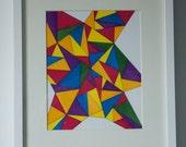 Original Geometric Drawing, Red, Orange, Yellow, Green, Blue, Purple, Triangle, Abstract, Metallic Inks, 9x12, Art