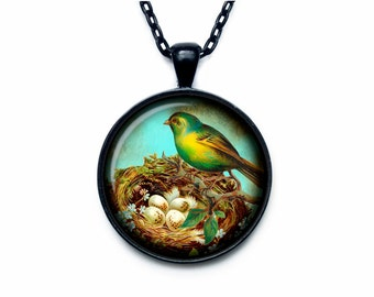 Bird nest pendant Bird nest necklace Bird nest jewelry nature necklace (PBN00002)
