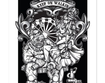 Keep on Walking, Bearded Lady and Clown, Neo-Traditional, Carnival Sideshow, Black and White, Art Print 12x16