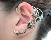 Glitter wing fly dragon ear cuff - antique gold dragon wrap earring, gothic jewelry