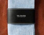 Ralph Men's Pocket Square Handkerchief Cotton Chambray Blue