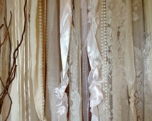 Backdrop Lace Wedding Fabric Party Garland Floor Length - Rustic Glamour, Tattered, Shabby, Boho - Photo Booth - Pearls 20 ft x 6 ft
