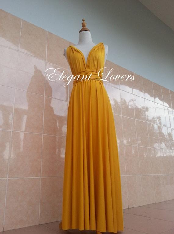 Golden Yellow Wedding Bridesmaid Infinity Wrap Convertible