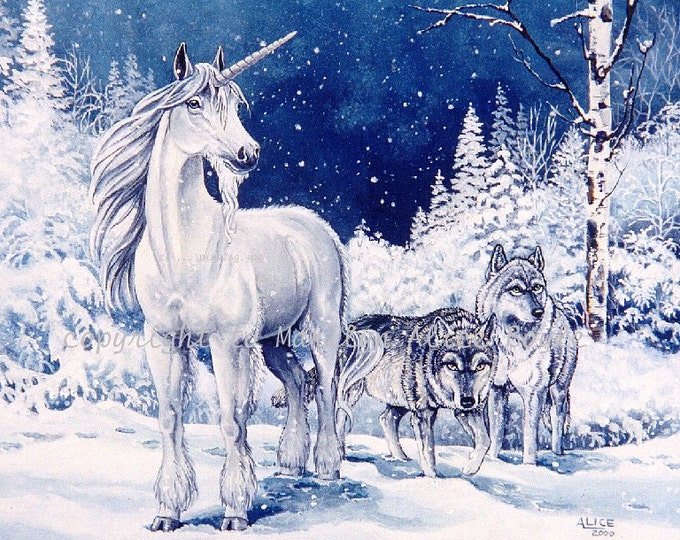 PRINT of UNICORN and WOLVES , winter, pair of wolves, snowing, wilderness, fantasy, art,  reproduction, blue color, 8 x 10 inches