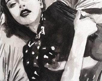 VOGUE original painting watercolor 7''x9''1/2-18x24cm