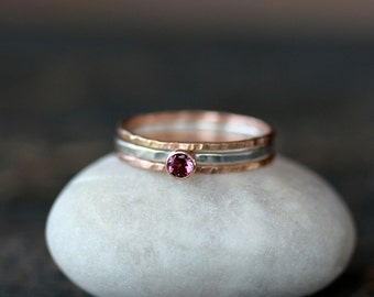 Stacking Ring Set, Pink Tourmaline Solitaire, Set of Three Rings, 14k Gold Hammered Bands, Sterling Silver Ring, Mixed Metal, Stackable Ring