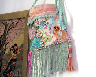 Pastel Pom Pom Bag, Small, Cross Body, Pink, Blue, Flowers, Fringe, Embroidered Silk, Boho, Pretty