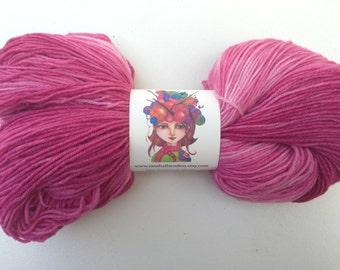 Hand Dyed Hand Painted Fingering Weight Superwash Wool / Nylon Yarn Pink, Rose, Raspberry - 462 Yards Sock Yarn, Indie Dyer rasehallsytudios