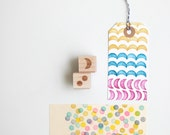 "Polka Dots and Crescent Abstract Shapes Rubber Stamps (Wood Mounted) Geometric Design Set of 2, Mini Duos 1/2"" size (M7A-7B)"