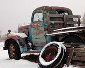 Old Broken Down Chevy Pickup Winter Antique farm vehicle  Rusty Blue Brown photograph 8x12