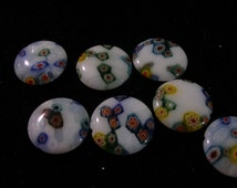 Millefiori beads,(10)  large, flat  circular, unusual  gorgeous flowers in snow, TRENDING NOW  --   TeamESST, OlympiaEtsy., WWWG,  paganteam