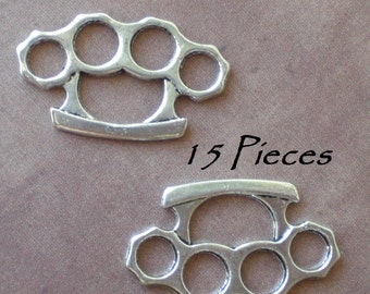 15 Tibetan Silver Brass Knuckle Duster Pendant Charms