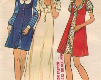 1970s Butterick 6683 Vintage Sewing Pattern Junior Petite Dress Size 9 JP Bust 33