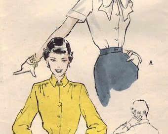 1950s Butterick 5432 Vintage Sewing Pattern Misses Blouse Bust 34, Bust 36