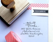 Custom Calligraphy Return Address Stamp created by hand