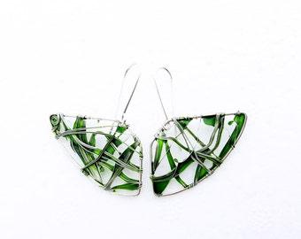 Emerald Fans Earrings. Sterling Silver Earrings. Emerald Green Earrings. Unusual Earrings. Unique Earrings. Wire Wrapped Earrings.