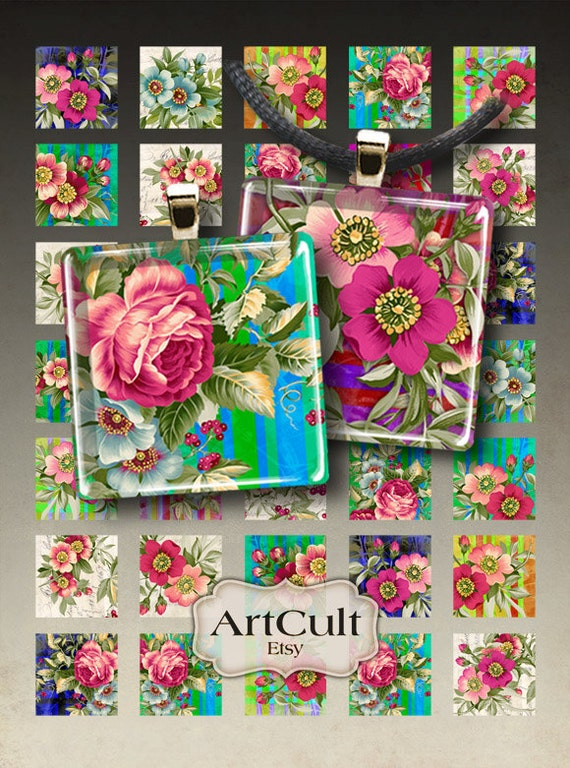 BEAUTIFUL FLOWERS - Digital Collage Sheet 1x1 inch and 7/8x7/8 inch size Printable square images for pendants bezel tray settings magnets