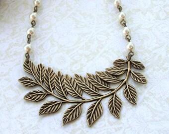 Large Leaf Necklace. Large Leaf Branch and Pearls Statement Necklace, Woodland Wedding, Nature Leaf Antiqued Brass Necklace. Wedding Bridal