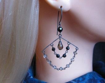 Quartz Onyx Earrings- Oxidized Silver, Fan Design