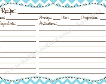 Recipe Cards Aqua and White Chevron Zigzag with Brown accent color 4x6 (3x5 by request)