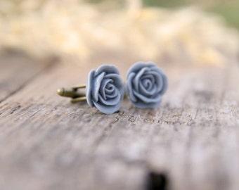 Gray Rose Flower Cuff links // Groom Gift // Best Man Gift //  Groomsmen Gift  // Vintage Wedding