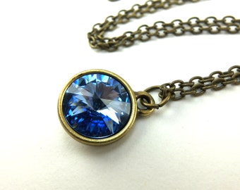 Light Sapphire Blue Crystal Necklace Light Blue Swarovski Crystal Antiqued Brass Light Sapphire Blue Necklace