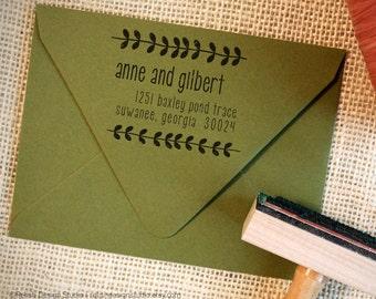 Custom Personalized Return Address Stamp 129 - Botanical Themed Stamp, Custom Modern Vines Rubber Stamp, Stamp for Couple
