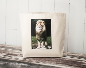 "The African Lion - Black or Natural Canvas Bag - Carryall Tote - Original Photograph - Nature - Animal Photo - More info in ""Item Details"""