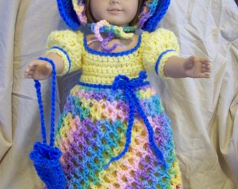 Regency style for American Girl and similar 18 inch doll: five-piece crochet set yellow, blue, bright ombre--dress, bonnet, shoes, bag