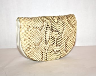 HALSTON Vintage Clutch Handbag Convertible Natural Snakeskin Leather Tote - AUTHENTIC -