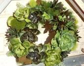 Faux Succulent Wreath, Artificial Succulent Wreath, Green Wreath