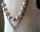 Blush Necklace, Grey and Pink, Platinum Pearls, Estate Style Necklace, Bridesmaid Jewelry, Statement Necklace