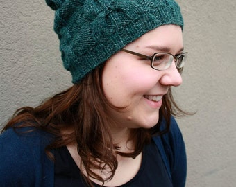 Emerald Slouchy Beanie, Hand Knitted Beanie Hat, Dark Green Womens Beanie, Unqiue Winter Fashion, Mens Hat with Cables, Gift for Her, Unisex