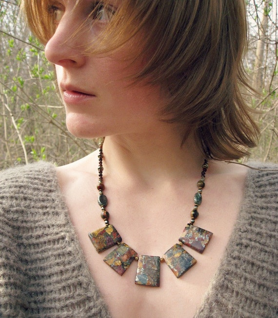 Tribal Statement necklace, earthy Picasso jasper bib necklace, bold earthy jewelry in red, gold, and green