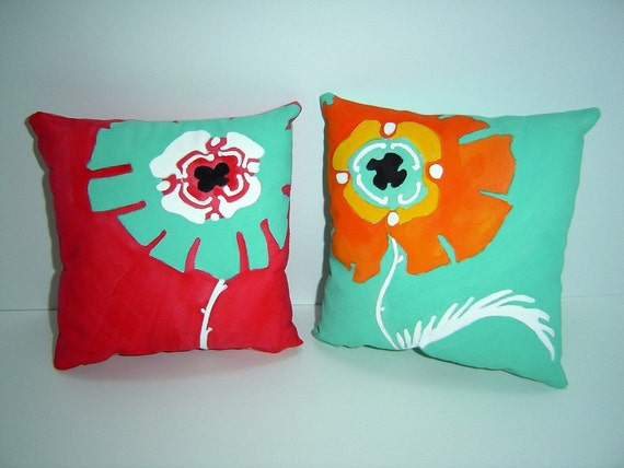 A Pair of Parisian Petals - Pillows - Hand Painted - Matching Accent for Home Decor