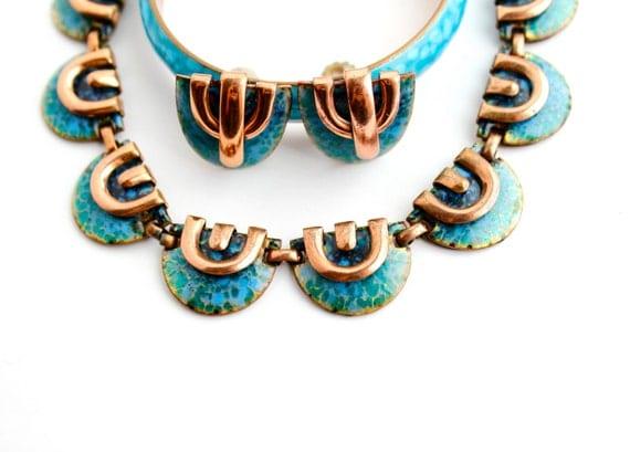 SALE - Vintage Matisse Copper Jewelry Set - Aqua Blue Green Enamel Necklace, Bangle Bracelet, & Clip on Earrings Lot / Modernist Parure