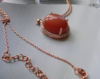 Moonstone pendant  sterling rose gold mid century vintage antique inspired necklace