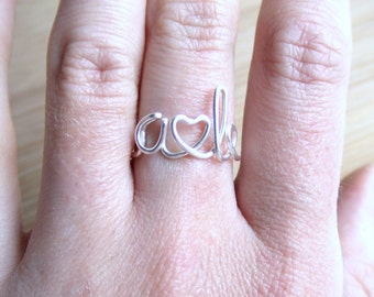 Initial Ring with Heart Gold Silver or Copper, Letter Ring, Personalized Ring, Bride Gift, Thank You Bridesmaid Gift, Girlfriend Ring