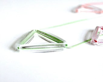 Mint triangle faceted transparent pendant- Everyday jewelry- Geometrics trend
