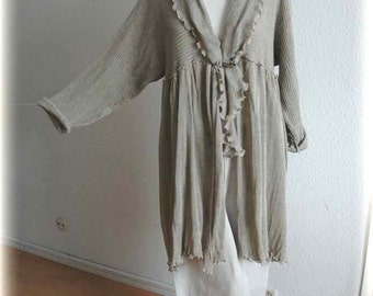 Grey LINEN Asymmetrical Cardigan Knitted  Natural Leather Rose Eco Friendly Clothing Unique Fashion Natural M L Size