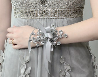 Wrist Corsage - Wedding Corsage - Bridesmaid Corsage, Silver Corsage for Weddings or Prom - Prom Corsage - Prom Dress Accessory