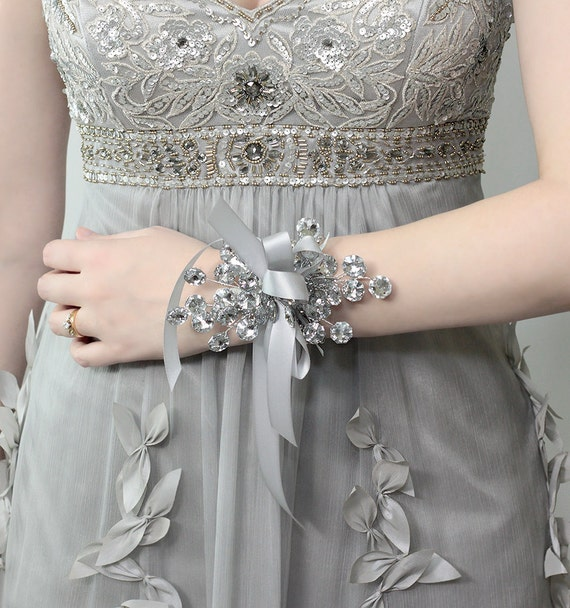 Wrist Corsage - Wedding Corsage, Silver Corsage for Weddings or Prom - Prom Corsage 2017 - Prom Dress Accessory - Prom Flowers