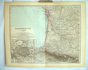 Pair of Antique Maps of France from the 19th Century
