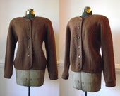 Womens Wool Cardigan Sweater S M  / Knit Chocolate Brown / Nordic Thick Vintage Small Medium
