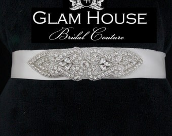 Bridal Gown Beaded Sash- Tapered Oval