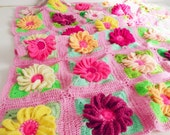 Baby Blanket crochet pattern 3D Flower Gerbera granny square  - granny chic floral blanket - Instant DOWNLOAD